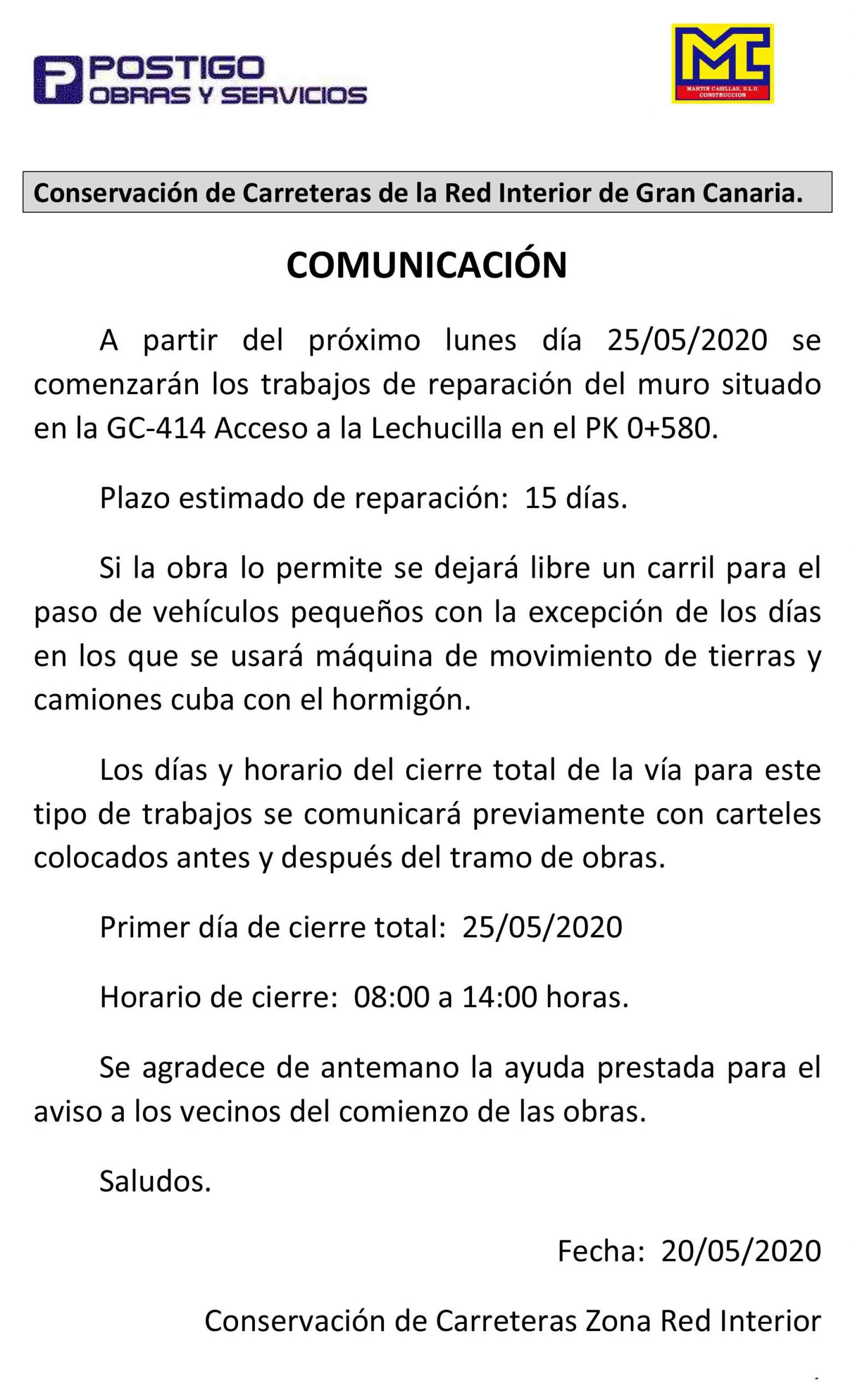 Próximo comienzo de obras en La Lechucilla