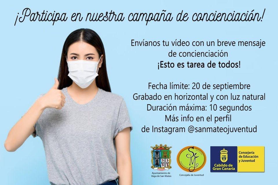 San Mateo llama a los jóvenes a participar en una campaña de concienciación del uso de la mascarilla